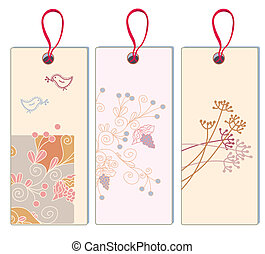 Floral banner with grape and bird set - vertical format