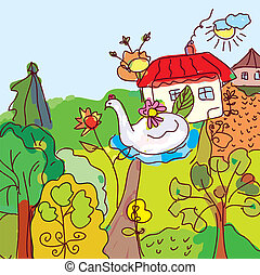Kid drawing landscape, house, trees from fairytale...
