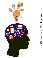 Education concept with head silhouette and light bulb...