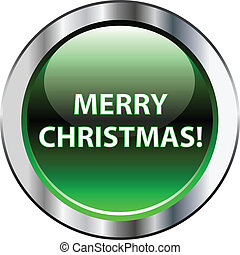 Green merry christmas button with silver border