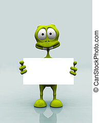 Alien with sign - A cartoon alien holding a blank sign