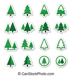 Pine tree vector icons set - Pine trees, forest or park...