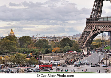 Paris - district of the Eiffel Tower from the Trocadero in...