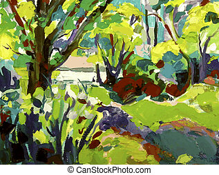 Original oil painting landscape with tree