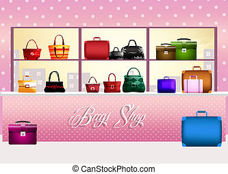 Bags shop - illustration of bags shop