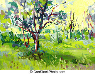 Original oil painting landscape with tree I, the Artist,...