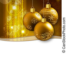 three golden christmas baubles hanging on a glittering...