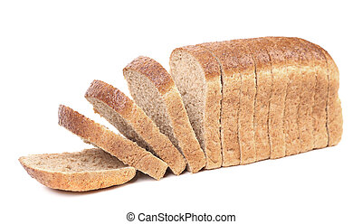 Slices of brown bread Isolated on a white background