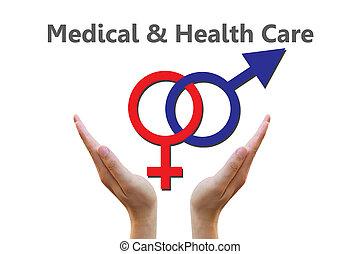 Sex symbol for healthcare concept - Male and female symbols...