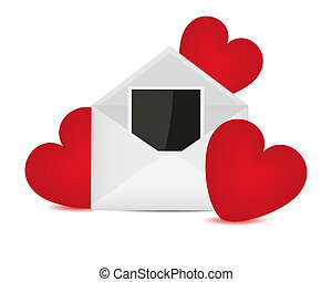 Photos in an envelope and red heart