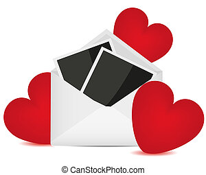 Photos in an envelope and red hearts