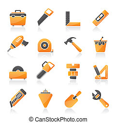Construction objects and tools icons- vector icon set
