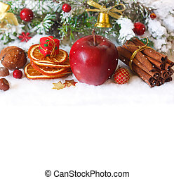 Christmas time - Christmas composition with red winter apple...