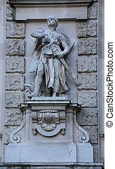 Crusader Staute Neue Burg - Crusader Staute, a facade...
