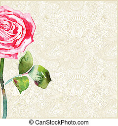 floral background with rose - hand draw floral background...