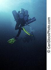 Tech diver - tech diver in Blue Hole