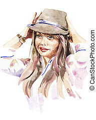 watercolor portrait of young women with a hat - original...