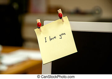 I love you note on computer - I love you message on a screen