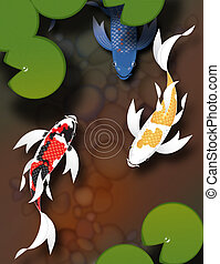 Threebutterflykoiswimminginapond - Stylized butterfly koi...