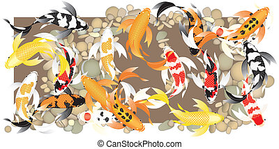 Butterflykoiswimminginaschool - Stylized butterfly koi fish...