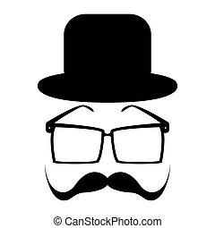 Mustache, glasses and a hat