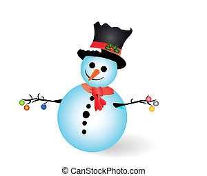 snow man with new-year toys on a white background