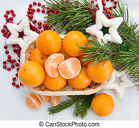 new year decoration with mandarins and fir tree - christmas...