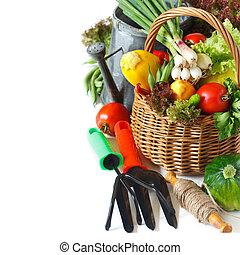 Gardening. - Fresh farm vegetables in a basket and garden...