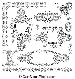 ornate vintage decorative design heraldic element of old...