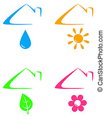 colorful icons under house roof