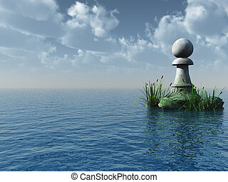 chess pawn - stone chess pawn at the ocean - 3d illustration