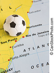 Football On Map Of Brazil To Show 2014 Rio FIFA World Cup...