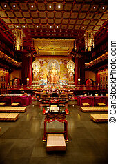 Buddhist Temple - An interior of a Buddhist temple with a...