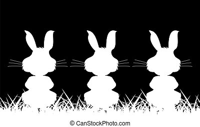Three white silhouette of a rabbit on a black background