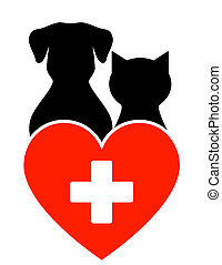 veterinary sign with dog and cat - veterinary sign with dog,...