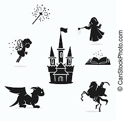magic set - vector set of black and white fairy pictures