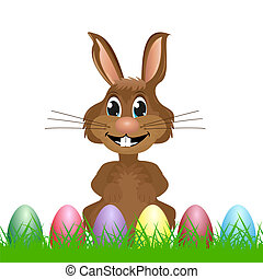 rabbit with Easter eggs on the grass
