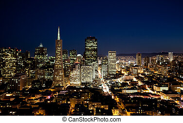 San Francisco - Night cityscape of San Francisco business...