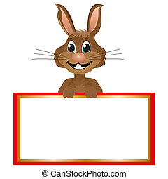 Rabbit with blank banner