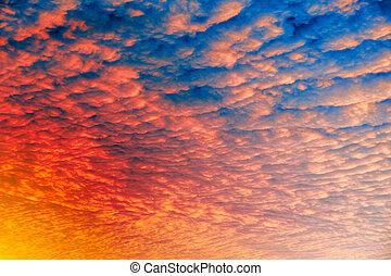 Cloud Sunset Background - A cloud sunset background, blue...