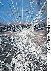 Broken glass - Glass broken cracks splinters in front of the...