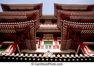 Buddhist Temple Detail - An archtiecture detail of a...