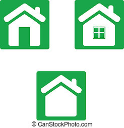 Green home icon.