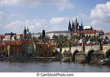 Prague city view with Vltava river