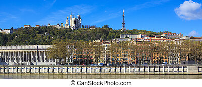 Lyon with basilica and courthouse - Panoramic view of Lyon...