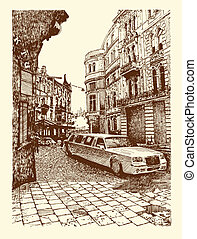 drawing of Lviv historical building, Ukraine - original...