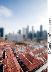 Tilt Shift Singapore - Chinatown with Singapore city center...