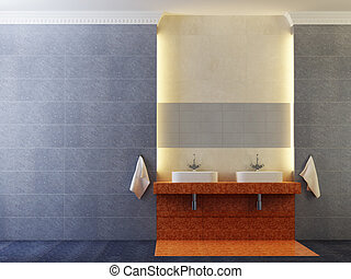 modern bathroom interior - 3d rendering of the modern...