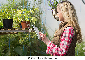 Blonde woman using her tablet in a green house and looking...