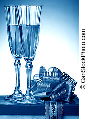 blue eve card - blue new year eve card - champagne and gift